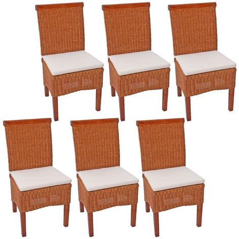 Lot de 6 chaises M42 salle à manger, rotin/bois, 46x50x96cm, avec coussins