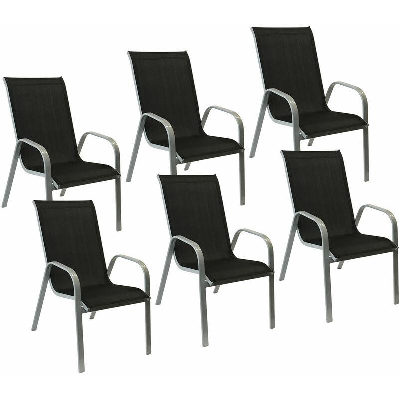 Gris 6 En Textilène Aluminium Marbella De Chaises Lot Noir gym6Yf7Ibv