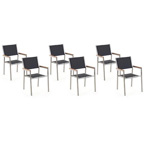 Lot de 6 chaises noires en acier GROSSETO