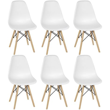 Lot de 6 Chaises Retro de Nordic Design Blanc - Blanc