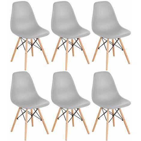 Lot de 6 Chaises Retro de Nordic Design Blanc - Blanc