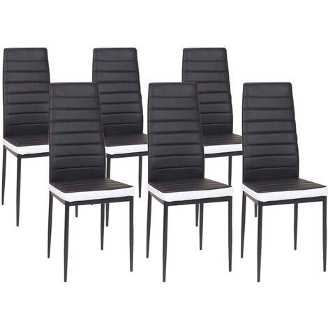 Lot de 6 chaises ROMANE noires bandeau blanc pour salle à manger