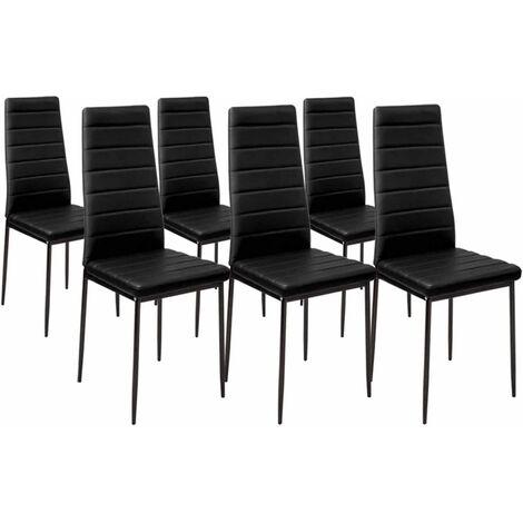 Lot de 6 chaises ROMANE noires pour salle à manger