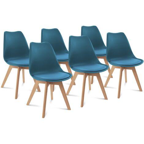 Lot de 6 chaises SARA bleu canard pour salle à manger