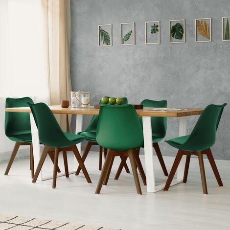 Lot de 6 chaises SARA vertes pieds foncés pour salle à manger