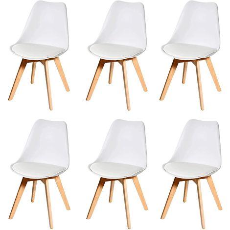 Lot de 6 chaises scandinave en simili-cuir blanc plastique et pieds bois clair - blante