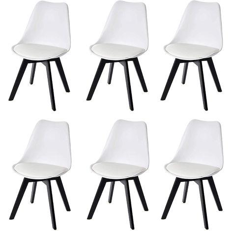Lot de 6 chaises scandinave en simili-cuir et plastique blanc pieds bois foncé - blante