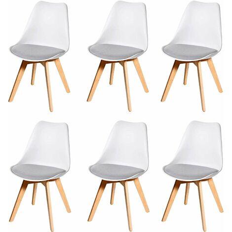 Lot de 6 chaises scandinave en simili-cuir gris plastique blanc et pieds bois clair - gris