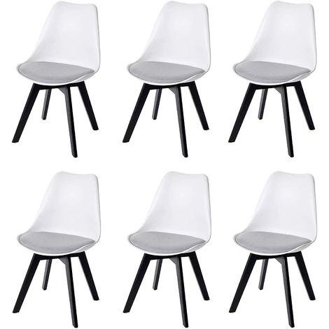 Lot de 6 chaises scandinave en simili-cuir gris plastique blanc et pieds bois foncé - gris