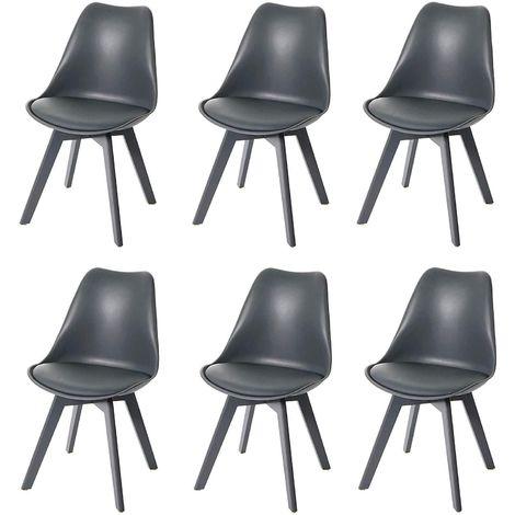 Lot de 6 chaises scandinave en simili-cuir gris plastique et pieds bois gris - gris
