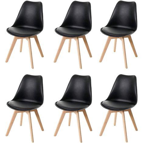 Lot de 6 chaises scandinave en simili-cuir noir plastique et pieds bois clair - noir