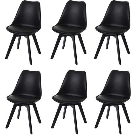 Lot de 6 chaises scandinave en simili-cuir noir plastique et pieds bois foncé - noir