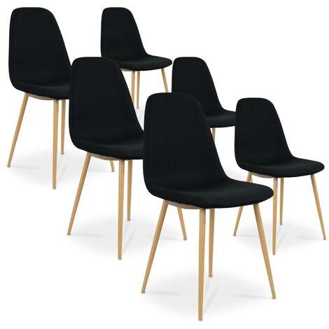Lot de 6 chaises scandinaves Bali tissu Noir