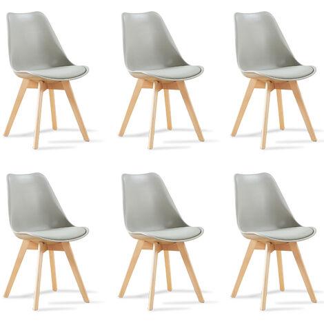 Lot de 6 chaises scandinaves blanches - Bjorn - Designetsamaison - Blanc