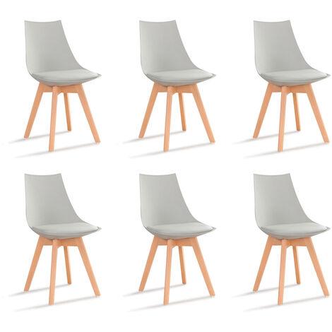 Lot de 6 chaises scandinaves blanches - Prague - Designetsamaison - Blanc