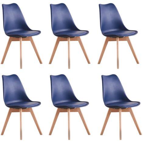 Lot de 6 Chaises Scandinaves Bleu Nuit Lorenzo - Assise Rembourrée - Salle à Manger, Cuisine, Chambre