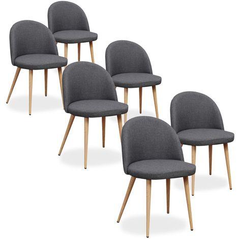 Lot de 6 chaises scandinaves Cecilia tissu Gris foncé