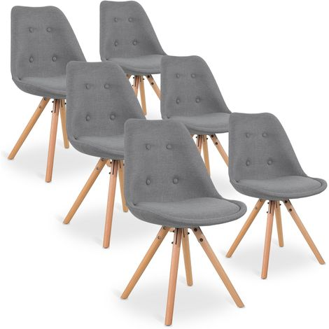 Lot de 6 chaises scandinaves Frida tissu Gris