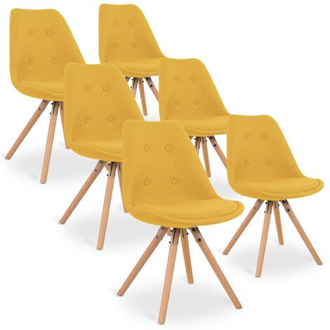 Lot de 6 chaises scandinaves Frida tissu Jaune