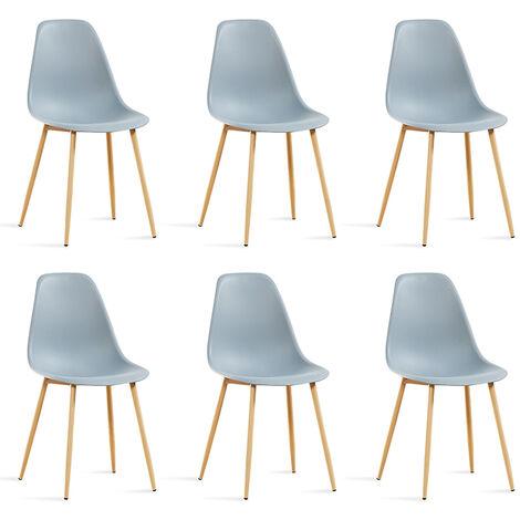 Lot de 6 chaises scandinaves grises - Ela - Designetsamaison - Gris