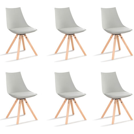 Lot de 6 chaises scandinaves grises en tissu - Minsk - Designetsamaison - Gris