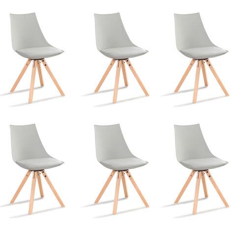 Lot de 6 chaises scandinaves grises - Minsk - Designetsamaison - Gris
