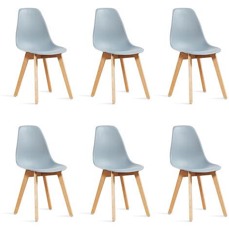 Lot de 6 chaises scandinaves grises - Onir - Designetsamaison - Gris