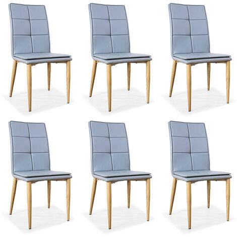 Lot de 6 chaises scandinaves grises - Pietro - Designetsamaison - Gris