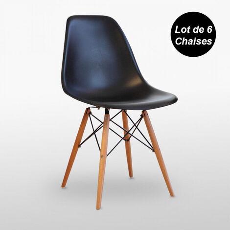 Lot de 6 Chaises Scandinaves Noires Style Eiffel - Salle à Manger, Cuisine