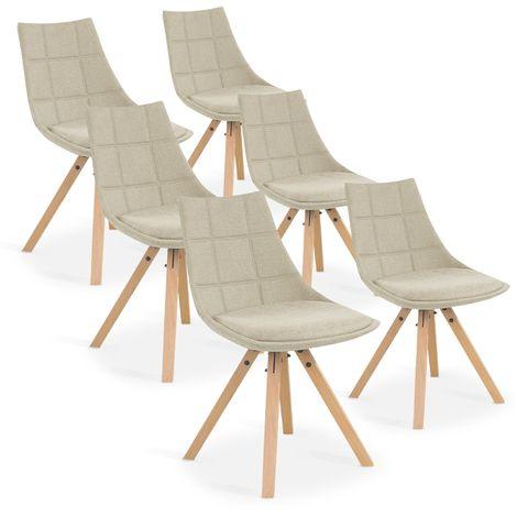Lot de 6 chaises scandinaves Thilda tissu Beige