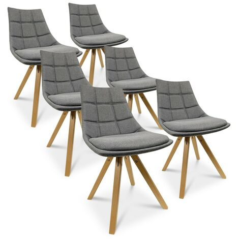 Lot de 6 chaises scandinaves Thilda tissu Gris
