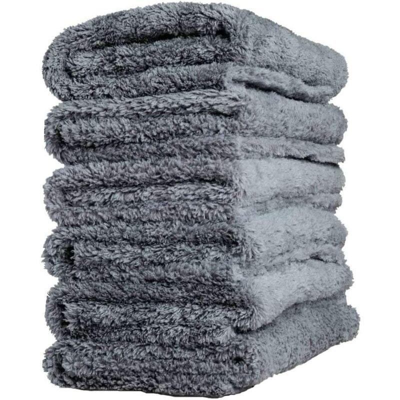 Bearsu - Lot de 6 Chiffon Microfibre de Voiture sans Bords pour séchage Rapide, Réutilisable pour Nettoyage, Polissage 450gsm 40x40cm (Gris)