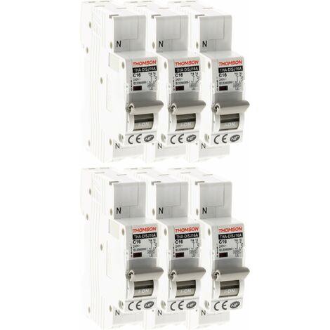 Lot de 6 Disjoncteurs à connexions automatiques PH+N Thomson - 16A NF