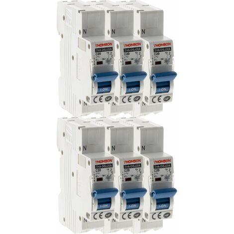 Lot de 6 Disjoncteurs à connexions automatiques PH+N Thomson - 20A NF