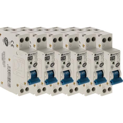 Lot de 6 disjoncteurs PH/N - 16A NF