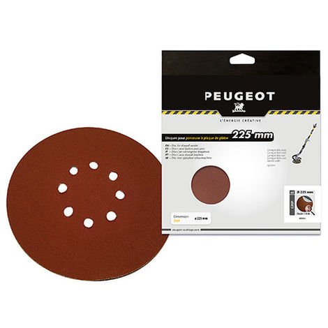 Lot de 6 disques abrasifs auto-agrippants D. 225 mm 8 trous grain 80 - Pour ponceuse téléscopique plâtre