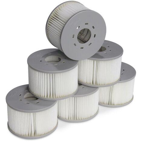 Lot de 6 filtres avec filets pour jacuzzis gonflables MSPA V2, Ø108cm – 6 cartouches filtrantes de remplacement pour jacuzzi gonflable MSPA + 1 filet de protections pour spa