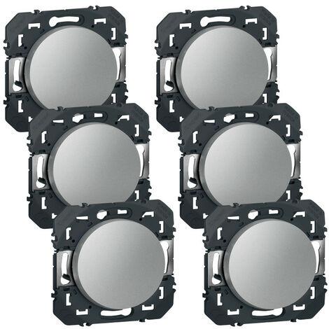 Lot de 6 interrupteurs ou va-et-vient dooxie 10AX 250V finition alu (300451)