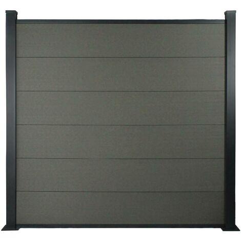 Lot de 6 lames de clôture en composite + 2 profilés de finitions - Long : 1,60m - Gris foncé