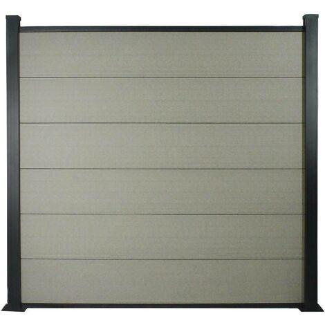 Lot de 6 lames de clôture L 160cm x 20cm en composite + 2 profilés - Gris