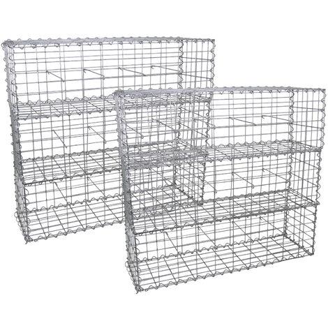 Lot de 6 Paniers de Gabions Argentés en Acier Galvanisé pour Projets d'Aménagement Extérieur, Murs de Soutènement, Clôture de Jardin. 100 x 30 x 30cm - Argent