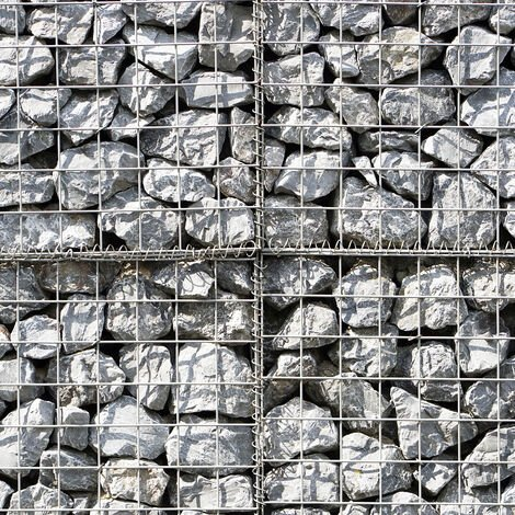 Lot de 6 Paniers de Gabions Argentés en Acier Galvanisé pour Projets d'Aménagement Extérieur, Murs de Soutènement, Clôture de Jardin. 100 x 80 x 30cm - Argent