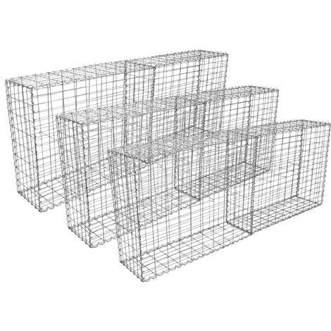 Lot de 6 Paniers de Gabions Argentés en Acier Galvanisé pour Projets d'Aménagement Extérieur, Murs de Soutènement, Clôture de Jardin. 100 x 95 x 30cm - Argent