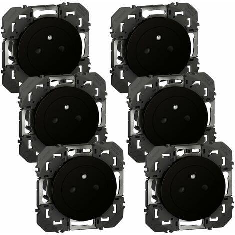 Lot de 6 prises 2P+T Affleurante avec terre Dooxie Noir - Composable - Legrand