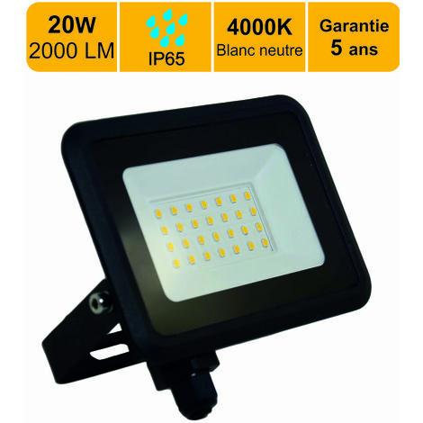 LOT DE 6 PROJECTEURS LED 20W (EQUIV. 200W) 1600 LM BLANC NEUTRE (4000K) IP65