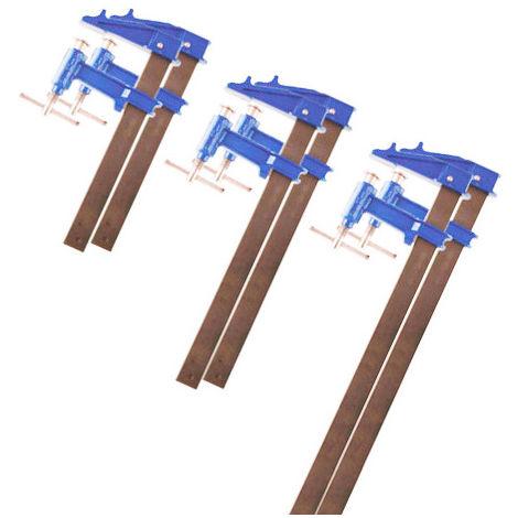 Lot de 6 serre-joints à pompe section 35 x 8 mm - 2 x 60 cm, 80 cm et 100 cm - -