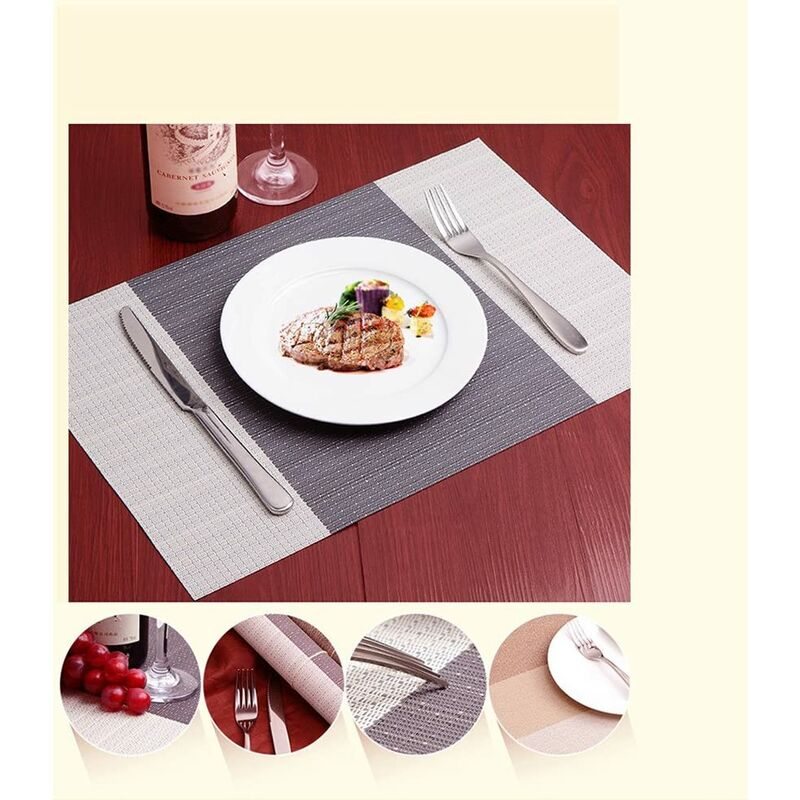 Jujin Lot de 8 Sets de Table antid/érapant Lavable en PVC R/ésistant /à la Chaleur Sets de Table pour Table de Salle /à Manger Violet 45/×30 cm