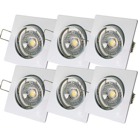 LOT DE 6 SPOT LED CARRE BLANC 230V 38° BLANC CHAUD