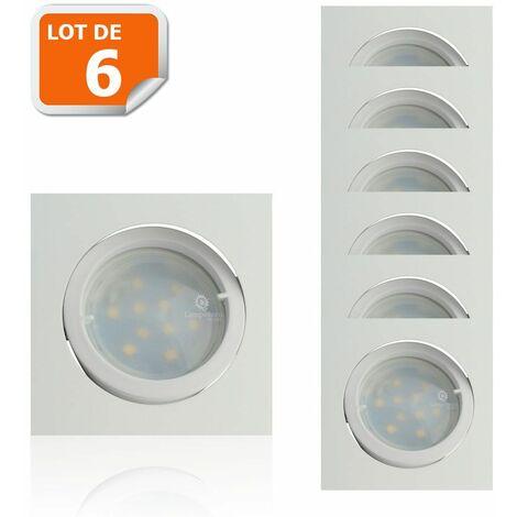 Lot de 6 Spot Led Encastrable Carré Blanc Orientable lumière Blanc Chaud 5W eq. 50W ref.404