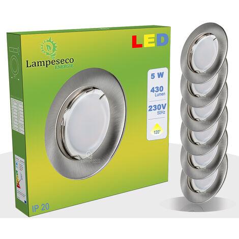 Lot de 6 Spot Led Encastrable Complete Alu Brossé Lumière Blanc Chaud 5W eq.50W ref.763